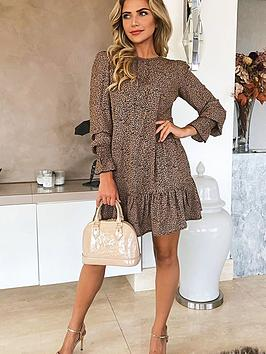 ax-paris-printed-frill-hem-dress-camel