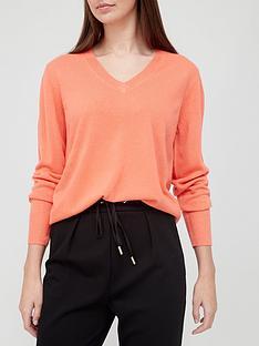 v-by-very-super-soft-v-neck-deep-rib-hem-knitted-jumper-coral