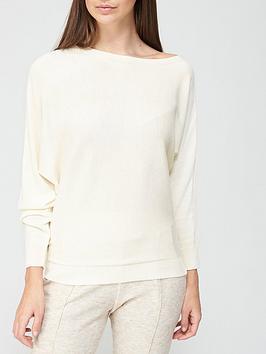 v-by-very-valuenbspsuper-softnbspoff-shoulder-batwing-knittednbspjumper-cream