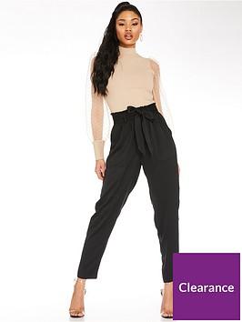quiz-paper-bag-waist-trousers-black