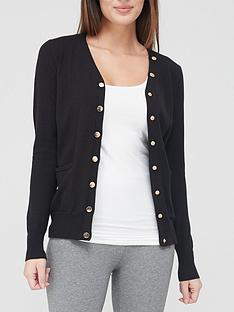 v-by-very-value-v-neck-button-detail-knitted-cardigan-black
