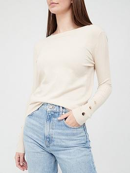 v-by-very-value-crew-neck-cuff-button-detail-knitted-jumpernbsp--stone