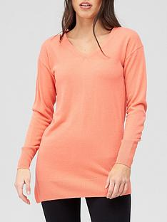 v-by-very-v-neck-relaxed-fit-longline-knitted-jumper-coral