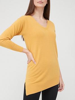 v-by-very-v-necknbspasymmetrical-hem-relaxed-fit-longline-knitted-jumper-mustard
