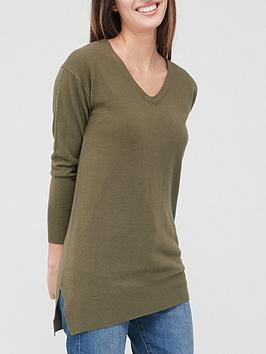 v-by-very-valuenbspv-neck-relaxed-fit-longline-knittednbspjumper-khaki