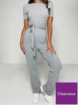 missguided-missguidednbsprib-short-sleeve-flare-leg-jumpsuit-grey