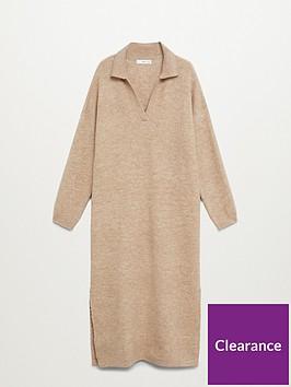 mango-v-neck-slouch-midi-dress-brown