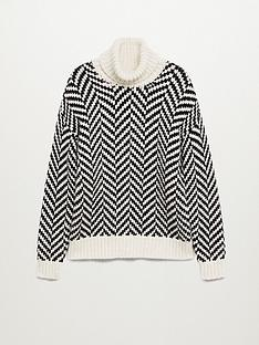 mango-herringbone-roll-neck-jumper-black