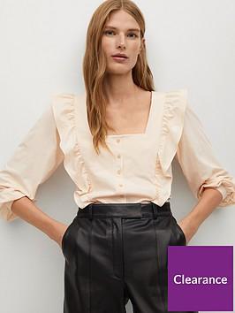 mango-ruffle-square-neck-blouse-beige