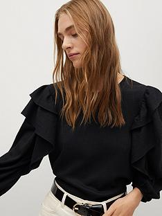mango-ruffle-sleeve-blouse-black