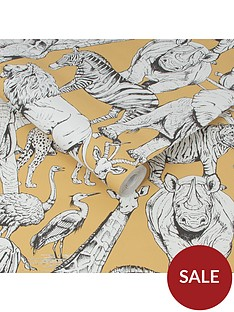 superfresco-easy-jungle-animals-jaune-wallpaper