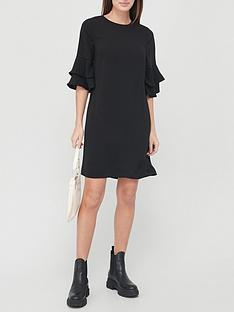 v-by-very-frill-sleeve-tunic-dress-black