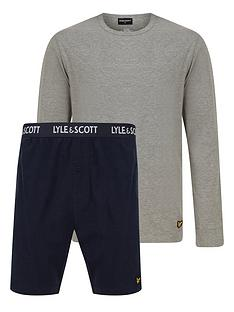 lyle-scott-lounge-pj-short-set-greynavy