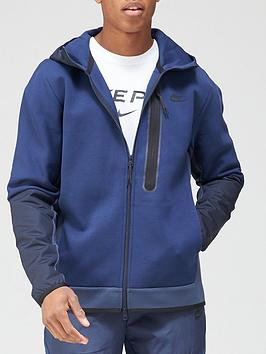 nike-tech-fleecenylon-mix-full-zip-hoodie-navy