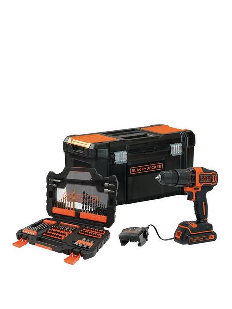 black-decker-18v-2-gear-hammer-drill-with-19rsquo-toolbox-and-104-accessory-set