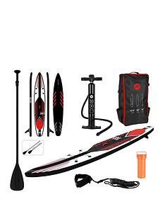 pure-racing-inflatable-stand-up-paddle-board-125-feet-complete-set-with-pump-patch-tool-foot-lead-adjustable-paddle-and-waterproof-2l-bag
