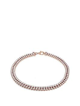 the-love-silver-collection-sterling-silver-rose-gold-plated-double-row-cubic-zirconia-tennis-bracelet
