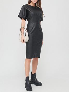 v-by-very-pu-short-sleeve-pencil-midi-dress-black