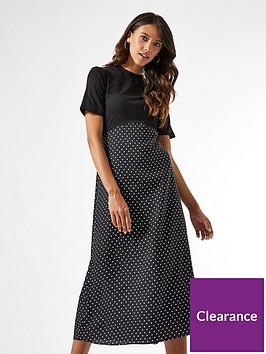 dorothy-perkins-woven-jersey-mix-midi-spot-dress-blacknbsp