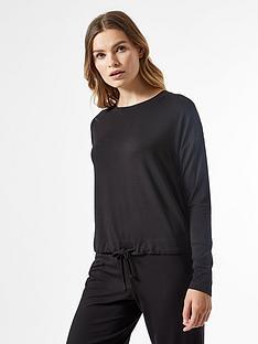 dorothy-perkins-tie-waist-lounge-top-black