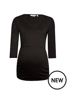 dorothy-perkins-maternity-34-sleeve-ballet-wrap-top-black