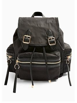 topshop-nylon-backpack-black