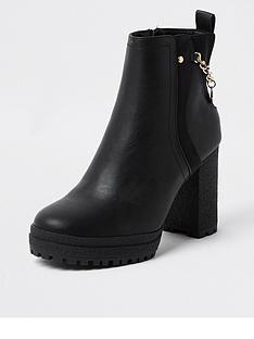river-island-chain-back-heeled-ankle-boot-black