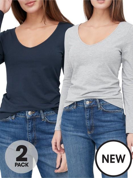 v-by-very-valuenbsp2-pack-long-sleevenbspstretch-v-neck-top-greynavy
