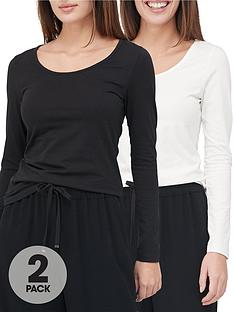 v-by-very-valuenbsp2-pack-long-sleevenbspstretch-scoop-neck-top-blackwhite