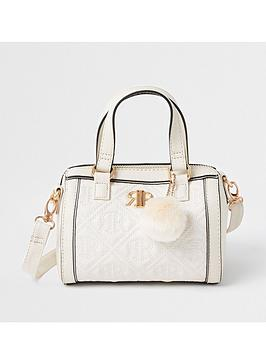 river-island-girlsnbspquilted-pom-bowler-bag--nbspcream