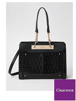 river-island-embossed-chain-tote-black