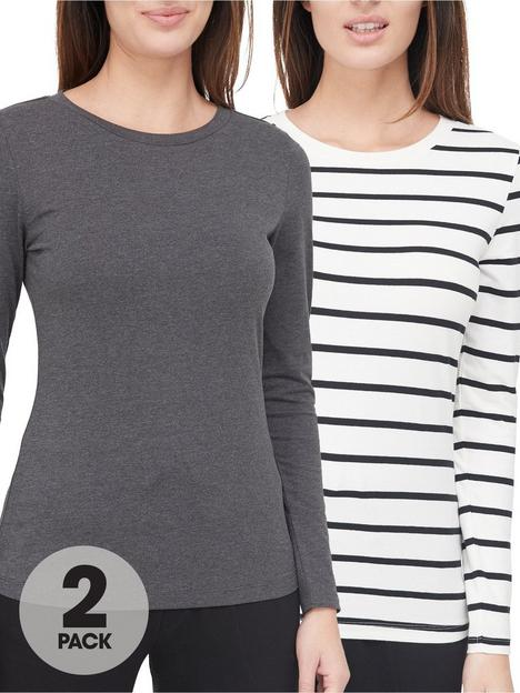 v-by-very-valuenbsp2-pack-long-sleevenbspstretch-crew-neck-top-charcoalstripe