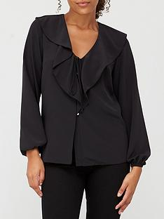 v-by-very-ruffle-long-sleeve-blouse-black