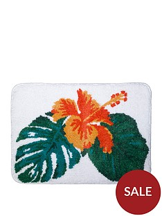 aqualona-tropical-leaf-microfibre-bath-mat