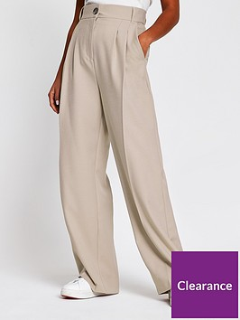 ri-petite-pleat-detail-wide-leg-trouser-grey