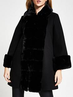 river-island-faux-fur-front-swing-coat-black