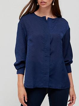 v-by-very-half-placket-jacquard-blouse-navy
