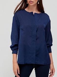 v-by-very-half-placket-jaquard-longline-blouse-navy