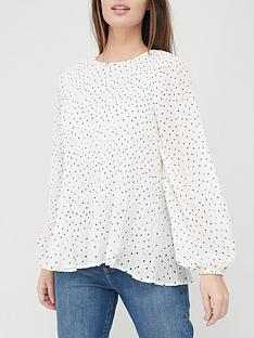 v-by-very-pleated-blouson-sleeve-blouse-spot