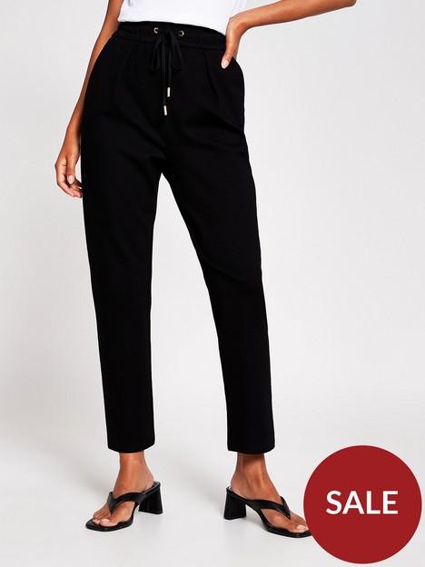 river-island-tie-waist-ponte-straight-leg-jogger-black