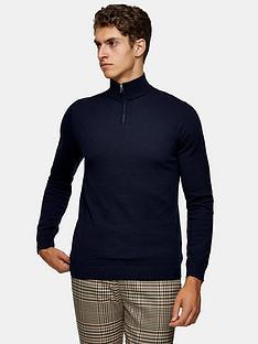 topman-knitted-half-zip-jumper-navy