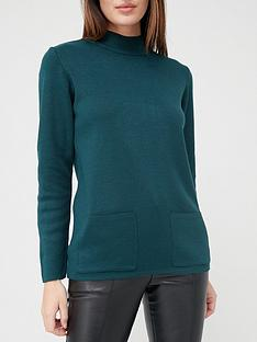 v-by-very-turtleneck-structured-knit-pocket-front-jumper-forest-green