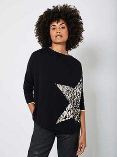 mint-velvet-animal-star-front-jumper-black