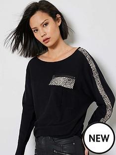 mint-velvet-print-pocket-detail-jumper-black