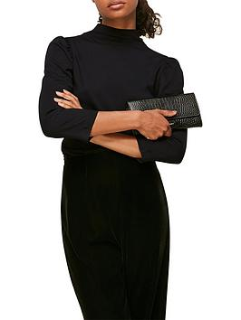 whistles-high-neck-puff-sleeve-top-black