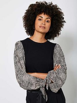 mint-velvet-print-sleeve-easy-jumper-black