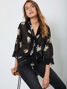 mint-velvet-clara-floral-print-tie-neck-lantern-sleeve-blouse-black