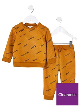 river-island-mini-boys-2-piecenbspall-over-printed-sweatshirt-and-jog-set--nbspochre