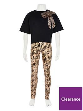 river-island-girls-2-piecenbspprinted-leggings-and-flute-t-shirt-setnbsp--black