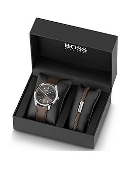 boss-grey-sunray-dial-brown-leather-strap-mens-watch-and-matching-bracelet-gift-set